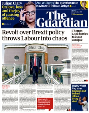 Guardian front page, Monday 23 September 2019