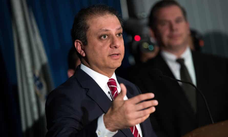 Preet Bharara, US attorney for the southern district of New York, speaks during a press conference to announce federal corruption charges against Norman Seabrook, president of the Correction Officers Benevolent Association, and Murray Huberfeld, founder of the New York-based hedge fund Platinum Partners LP, in June.