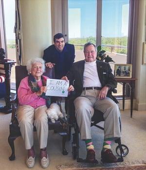 AJ Jacobs with George and Barbara Bush.