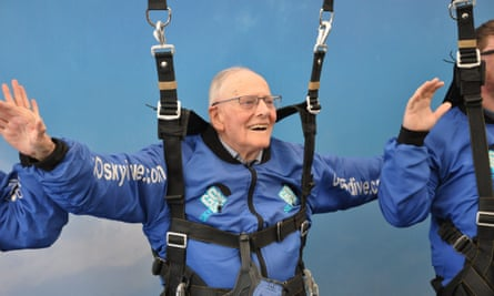 Harry Read, a 95-year-old veteran who is to parachute into Normandy on June 5 for 75th anniversary, during a practice skydive