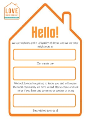 Introductory greeting template for Bristol University students.