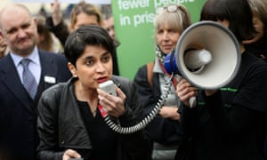 Shami Chakrabarti protests against the ban on sending books to prisoners, in a demonstration outside Pentonville prison in north London.