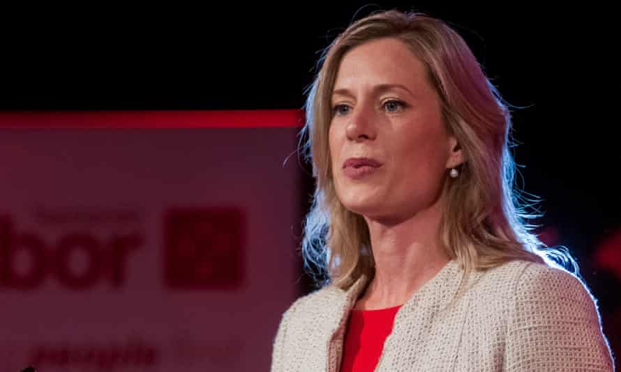 Tasmanian Labor leader Rebecca White on stage during Tasmanian Labor's official election campaign launch in Launceston.