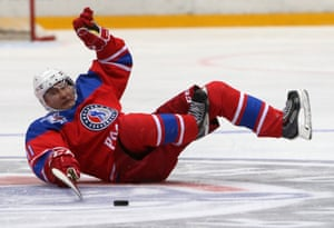 May 2016: Competing in the NHL veterans ice hockey match in Sochi, Putin's team won 11-5