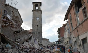Amatrice's town clock in the 16th-century bell tower remains frozen at just after 3.36 am, the moment the quake hit.
