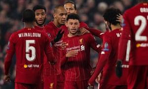 Liverpool's Alex Oxlade-Chamberlain celebrates scoring the second.