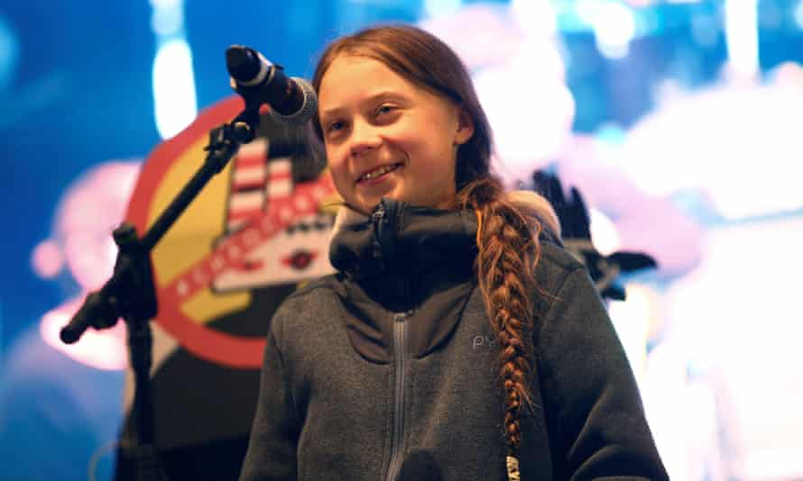Swedish environmental activist Greta Thunberg delivers a speech at COP25 in Madrid in 2019