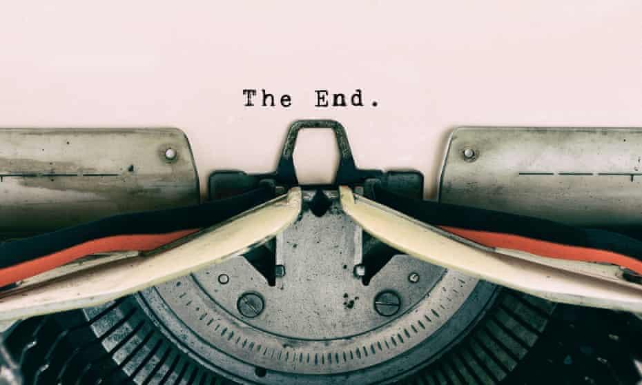 The End on vintage typewriter