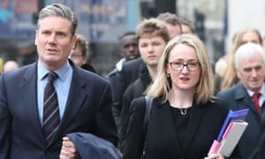 Labour's Keir Starmer and Rebecca Long-Bailey arrive at the Cabinet Office.