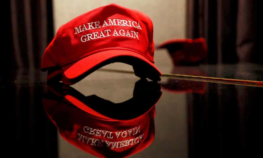 A Trump hat sits on a table outside of the rally for Republican U.S. presidential nominee Donald Trump in New York City in November, 2016.