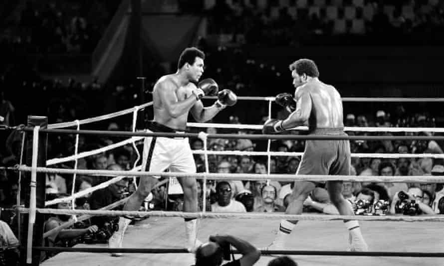 Ali, left, takes on George Foreman in Kinshasa, Zaire, in 1974.