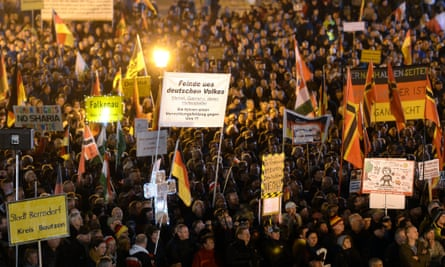 Pegida march in Dresden.