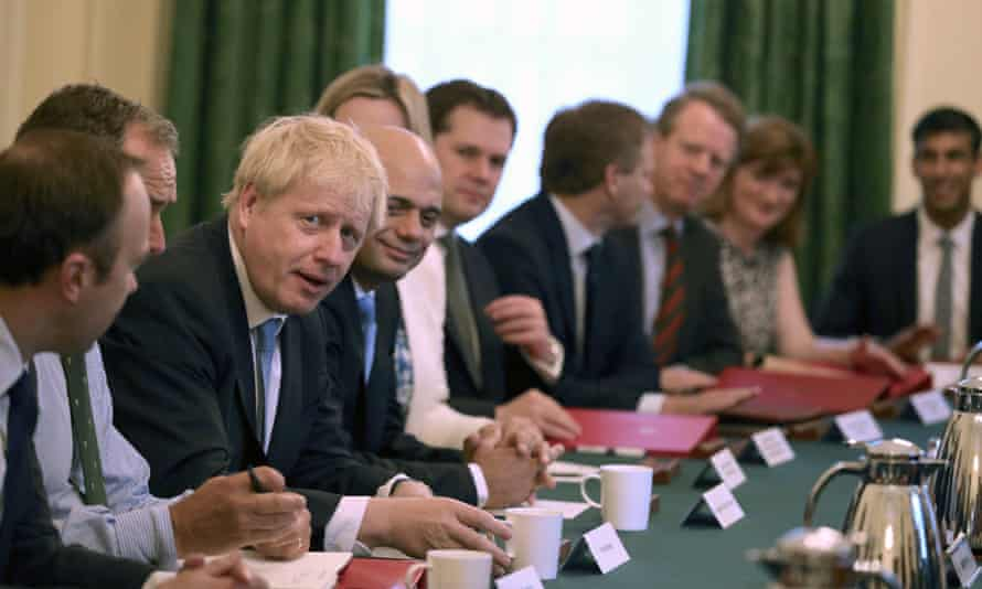 Boris Johnson holds his first cabinet meeting at Downing Street, 25 July 2019