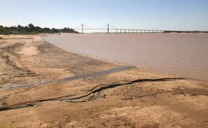 Falling water levels along the Parana River