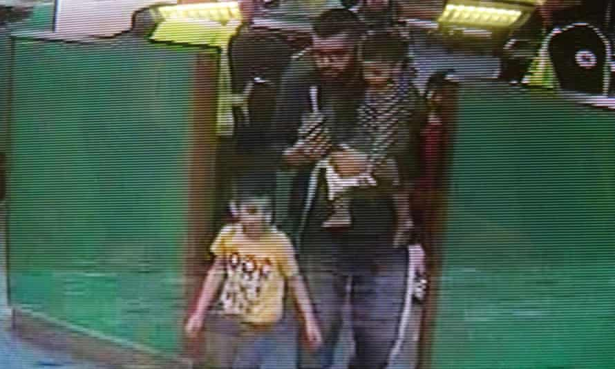 CCTV police video of Asif Malik and two of his children travelling through the port of Dover in Kent.