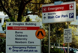 Emergency signs at Royal North Shore Hospital in Sydney