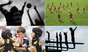 Young people participating in netball, football, rugby league and diving