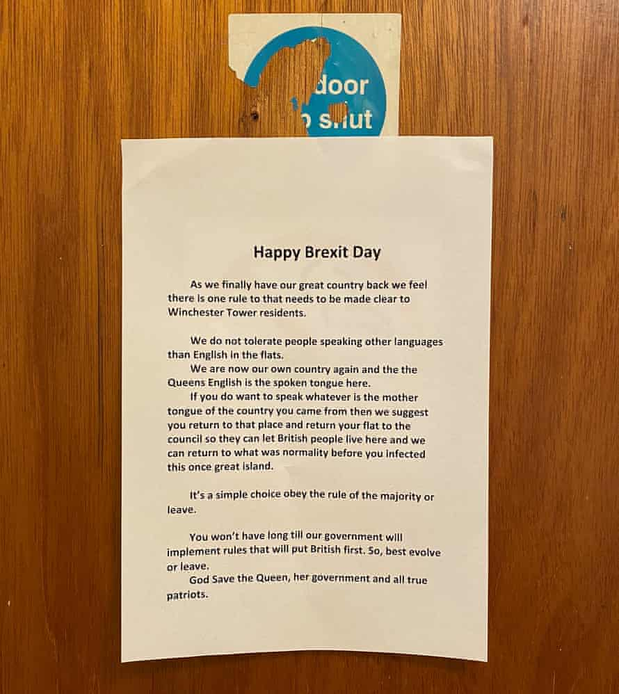 Brexit poster seen in a block of flats in Norwich