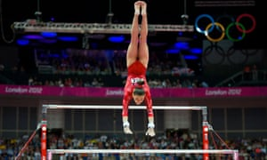Kyla Ross of the United States performing on the uneven bars during the women's team gymnastics finals at the 2012 Olympics.
