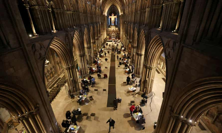 People receive Covid-19 vaccines inside Lichfield Cathedral, which has been turned into an emergency vaccination centre.