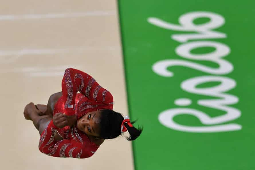US gymnast Simone Biles practices on the vault during a training session at the women's Artistic gymnastics at the Olympic Arena on August 4, 2016 ahead of the Rio 2016 Olympic Games in Rio de Janeiro. / AFP PHOTO / Ben STANSALLBEN STANSALL/AFP/Getty Images