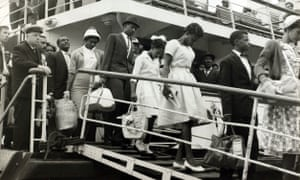 People disembark after arrival in Southampton