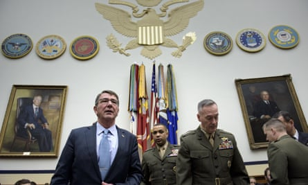 US secretary of defense Ashton Carter and chairman of the joint chiefs of staff general Joseph Dunford arrive for a hearing about deploying 'specialized' troops in Iraq to fight Isis.