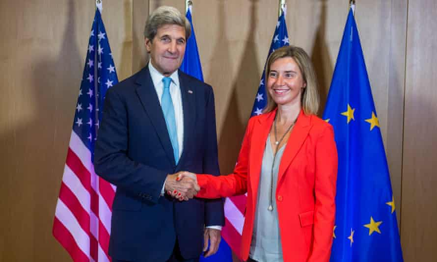 Federica Mogherini, the EU's foreign policy chief, with the US secretary of state, John Kerry, in Brussels