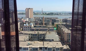 The view into North Korea from an upper floor of the hotel