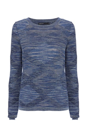 Blue textured check jumper