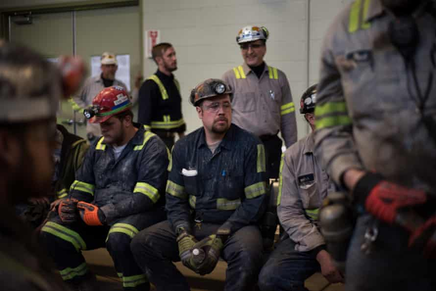 Coal miners wait for the arrival of U.S. Environmental Protection Agency Administrator Scott Pruitt at Harvey Mine in Sycamore, Pennsylvania on April 13, 2017.