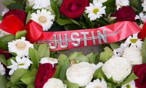 A tribute to Justin Edinburgh at Orient's stadium.