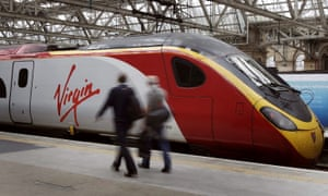 A Virgin Trains train at Glasgow station