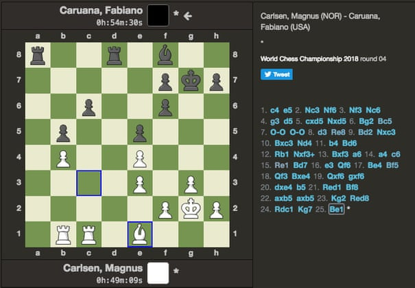 Magnus Carlsen and Fabiano Caruana play to bloodless draw in