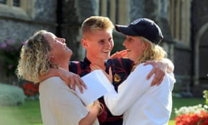 Brighton College pupil Jay Parvin celebrates his GCSE results with his mother, Jane, and sister, Phoebe.