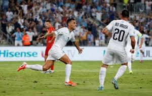 Israel's Eran Zahavi celebrates after opening the scoring.