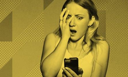 Woman looking shocked at phone