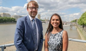 Gina Miller with George Turner onboard the Tamesis Dock at Albert Embankment in Vauxhall.