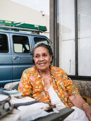 Mary FisiiaHi sits outside her trailer. Residents in the park pay about $700-$1,000 a month in rent, much more than the cost in other trailer parks across the country but far less than the cost of apartments nearby. <br>The influx of young tech developers has sent rents across Silicon Valley skyrocketing: the average rent for a one-bedroom apartment in Palo Alto is $2,600, an increase of more than $1,000 over the past five years, according to apartment rental website RentJungle