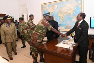 Zimbabwean president Robert Mugabe meets with Defence Forces generals at State House in Harare