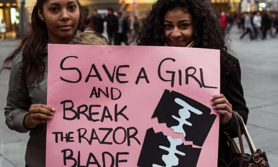 Women protesting during the international day against female genital mutilation.