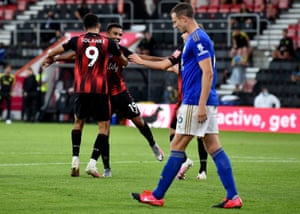 Bournemouth's Junior Stanislas celebrates after his shot was deflected in by Leicester City's Jonny Evans.