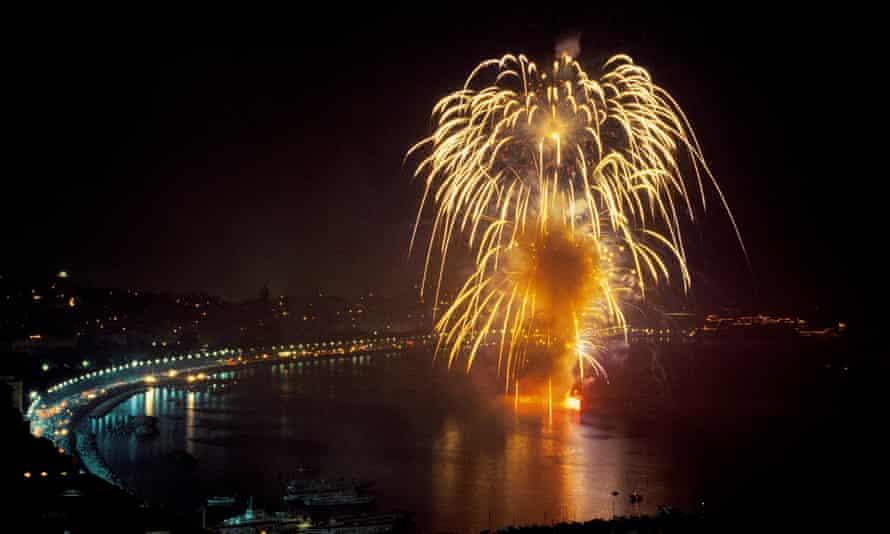 Fireworks at sea during Piedigrotta festival, Naples