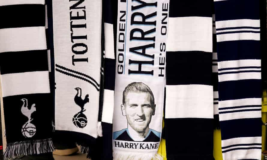 A scarf with a picture of Tottenham Hotspur's Harry Kane for sale before the Premier League match against Aston Villa.