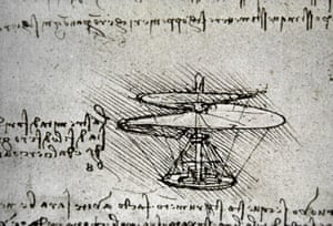 Leonardo's design for a flying machine with a human operator.