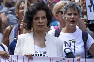 Nicaraguan celebrity and human rights advocate Bianca Jagger joins protesters