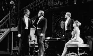 John Shirley-Quirk, Benjamin Luxon, Nigel Douglas and Sylvia Fisher rehearsing Owen Wingrave at Snape Maltings.