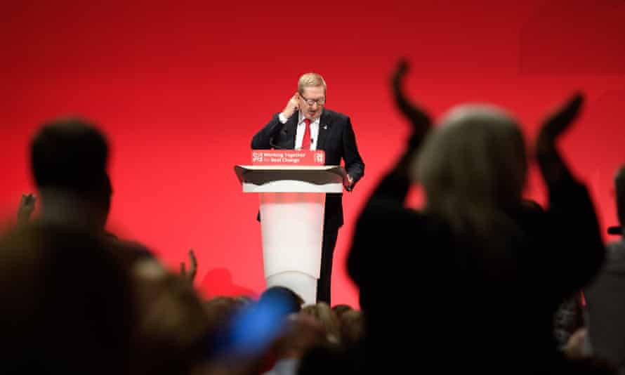 Len McCluskey addresses delegates at the Labour party conference in Liverpool.