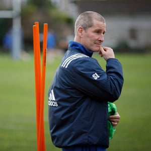 Stuart Lancaster, the former England head coach and now senior coach at Leinster, during training at the province's training centre.