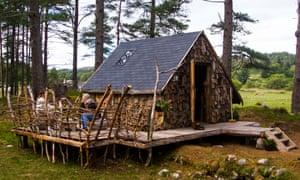 wood-clad Ranger's Hut at Arda Glamping, Scotland